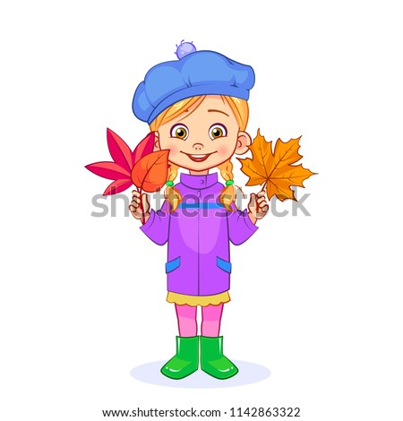 A sweet girl with pigtails collects a herbarium from dry autumn leaves. Isolated vector illustration for children.