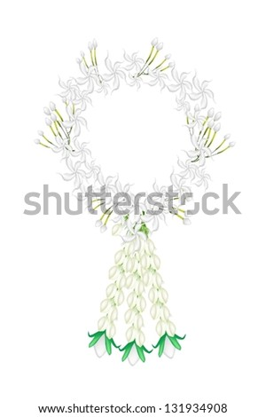 A Symbol of Love and Luxury, An Illustration of Beautiful Flower Garland with White Common Gardenias or Cape Jasmine Flowers and White Roses Blossoms, The Garland in Thai Tradition Style