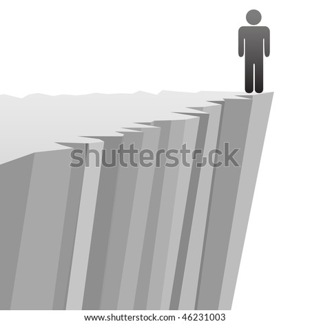 A symbol person stands on a steep cliff edge in danger of falling. - stock vector