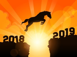A symbolic illustration of a silhouetted horse jumping over cliffs into next year of 2019