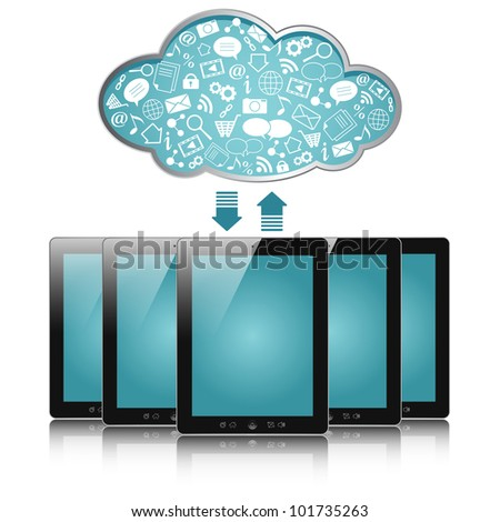 a tablet computers with blue clouds, cloud computing, tablet pc