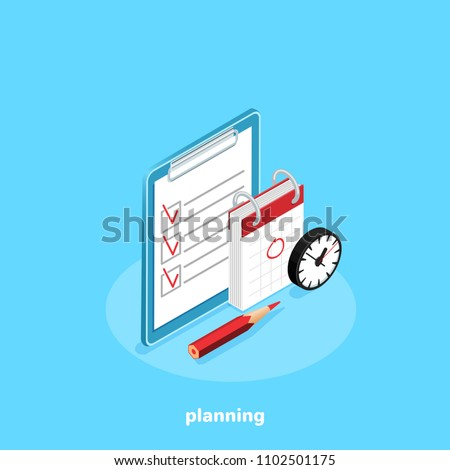 a tablet next to the calendar and a clock on a blue background, an isometric image