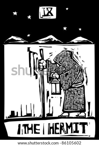 A Tarot card image of the Hermit