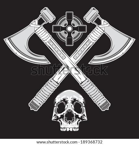 Battle Axe Tattoo Of crossed battle axes,