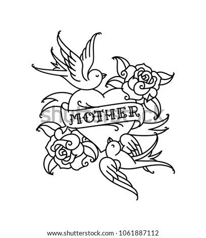 A tattoo with the inscription of Mom. A heart and flower tattoo with a flower. Tattoo in the style of the American old school. Vector flat tattoo. The illustration is isolated on a white background. C