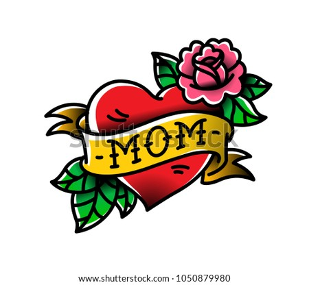 A tattoo with the inscription of Mom. A heart and flower tattoo with a flower. Vector flat tattoo. The illustration is isolated on a white background.