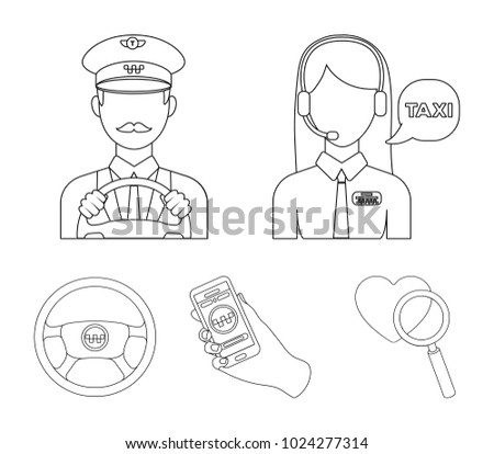 A taxi driver with a microphone, a taxi driver at the wheel, a cell phone with a number, a car steering wheel. Taxi set collection icons in outline style vector symbol stock illustration web.