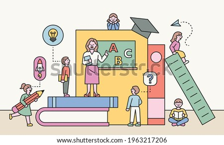 A teacher teaches students in a classroom made of huge books. flat design style minimal vector illustration.