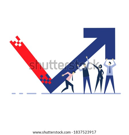 A team of business people rise up a company's economic indicator. Сток-фото ©
