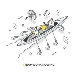 A team of business people, rowing in the boat, move towards their goal. Teamwork isometric concept