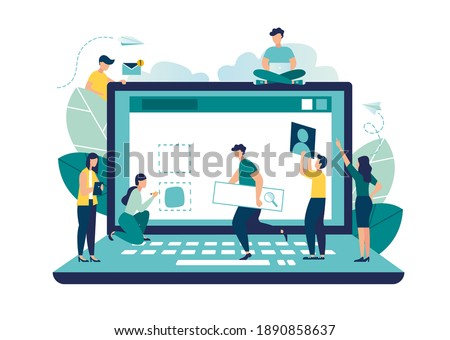 A team of people is developing a website by filling it with functions, concept vector illustration for the development of websites and mobile sites, SEO, mobile applications, business solutions, vecto