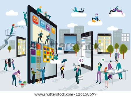 A team of people work creatively together building giant digital tablets, like skyscrapers, and creating the content. Other people download content on their mobile devices. Horizontal composition.