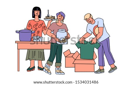 A team of volunteers helps homeless and poor people - give out food, collect money and clothes for donations. Altruism and charity, people needing social support and help Cartoon vector illustration.