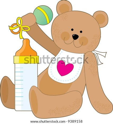 A teddy bear holding a rattle with a baby bottle and a bib - stock vector