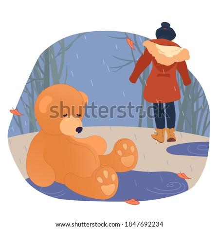 a teddy bear is abandoned in