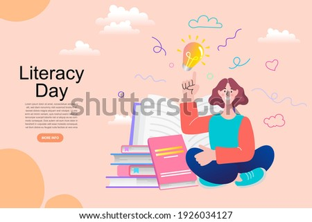 A teenage girl reading a big book. World book reading or literacy day banner. Book market or fair concept. Online reading. Back to school. College and university concept vector illustration.