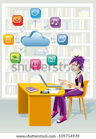A teenage girl sitting in a public library at the laptop computer. Above is a cloud and a set of internet icons. She is studying helped by technology.