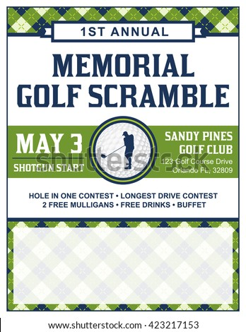Shutterstock A template for a golf tournament scramble invitation flyer. Vector EPS 10 available.