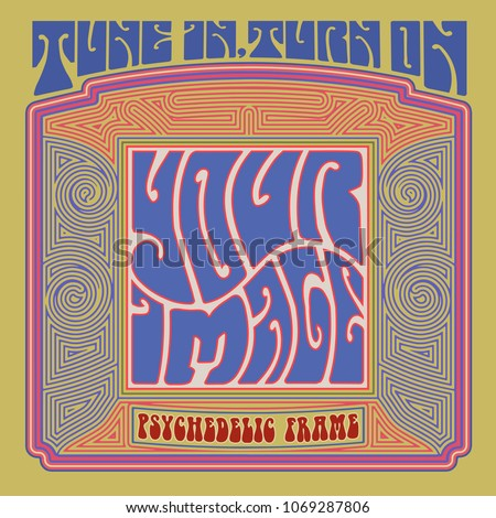 A template for a psychedelic sixties graphic, album cover, or poster