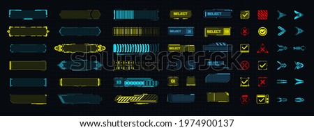 A template of futuristic elements for the game, button, arrow, loading. Modern game design icons.  Digital technology UIUX Futuristic HUD, FUI, GUI. Screen user interface, control panel for game apps