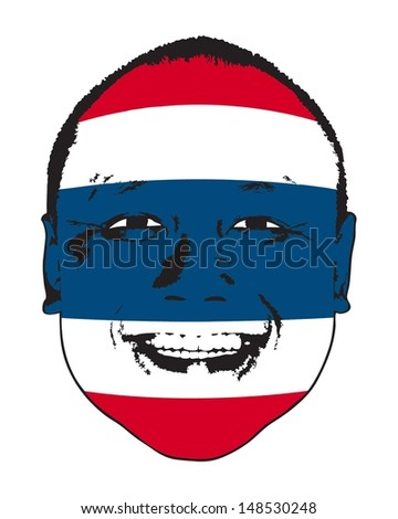 a thailand flag on a face