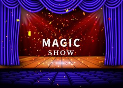 A theater stage with a blue curtain and a spotlight and wooden floor. Magic Show poster. Vector.