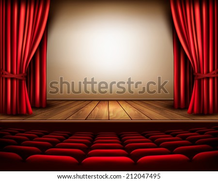 a theater stage with a red