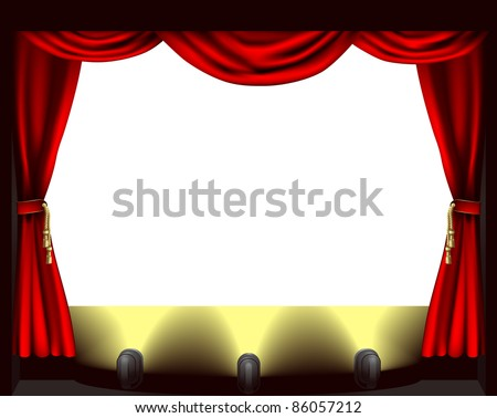 Open curtains red curtains with open angle - A Theatre Stage Lights And Curtain Illustration