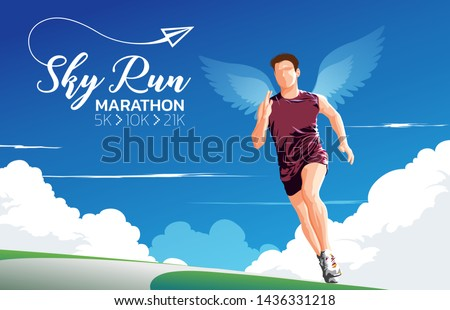 A theme, a key visual, an illustration of marathon runners with the wings on back under the blue sky in vector. It is suitable for being used as a theme for marathon theme.