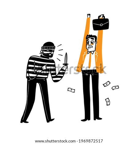 A thief is robbing a businessman. Hand draw Vector illustration doodle style  Zdjęcia stock ©