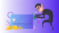 A thief is trying to steal a credit card. Credit card, gold coins, dollars. Online Security Concept. Vector.