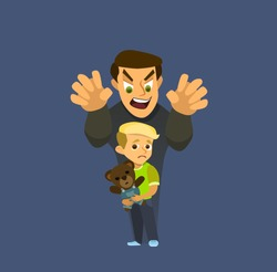 A thief steals a child. Children kidnapping concept. Vector illustration in a flat style.