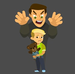 A thief steals a kidnapped child. Children kidnapping concept. stealing kidnapped. Vector illustration in a flat style.