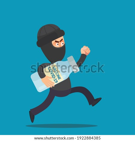 A thief stole a coronavirus vaccine from a hospital. A black-robed criminal run away from clinic and holds a stolen COVID-19 vaccine in hand. Vector illustration, flat design, cartoon, isolated. Foto stock ©