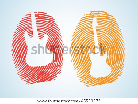A thumbprint with the guitar icon on it .. depicting a Music-Lover, musician or Guitarist.