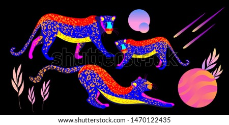 a tiger and a lion neon colors