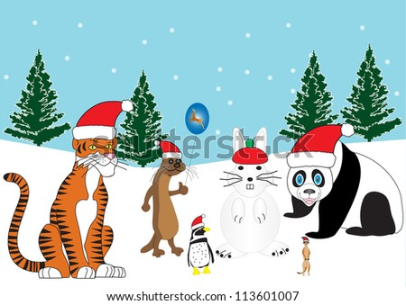 A Tiger,Otter,Penguin and a Meerkat in Santa Hats with a Snow Rabbit and Snowy Background with Xmas Trees