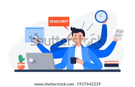 A Tired Man Missing Deadline. An Office Worker Overwhelmed by Work, Reports, and Calls. Vector Flat Illustration. Foto stock ©