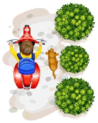 A topview of a boy riding a motorcyle on a white background