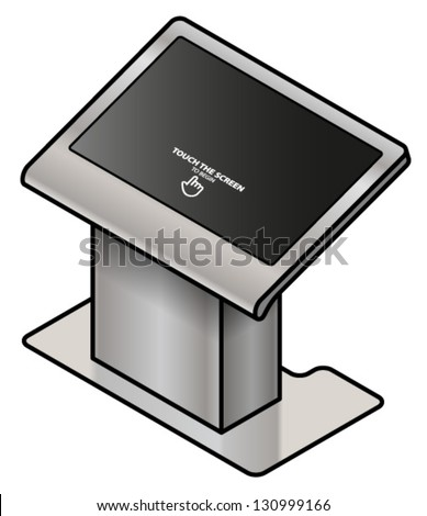 A touchscreen information kiosk. Large screen pedestal format; for floor plans, maps and group interactive activities.