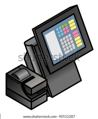 A touchscreen point of sale terminal with a receipt printer.