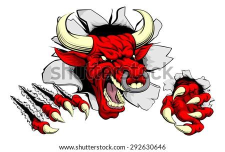A tough red bull animal sports mascot breaking through a wall
