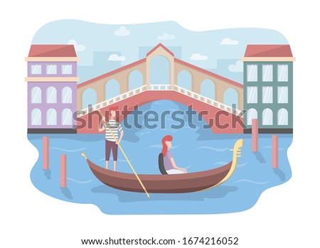 A tourist is sailing on a gondola in Venice. Gandolier in Italy. Girl gives in Europe. Colorful vector illustration in flat cartoon style.