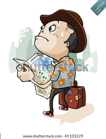 A tourist Lost in City with safari shirt and hat. Cartoon series.