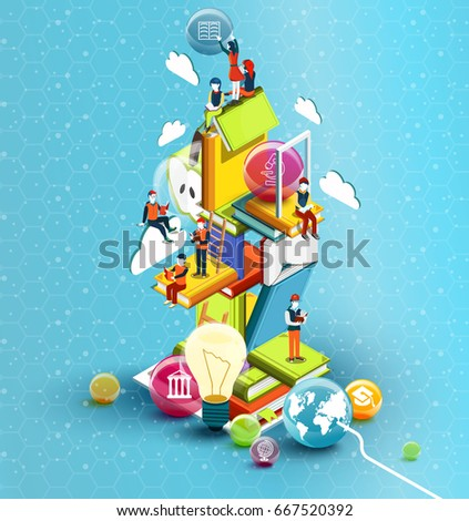 A tower of books with reading people.  Educational concept. Online library. Online education isometric flat design on blue background. Vector illustration