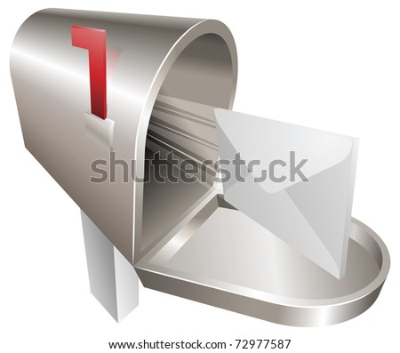 A traditional metal mailbox with letter flying out of it