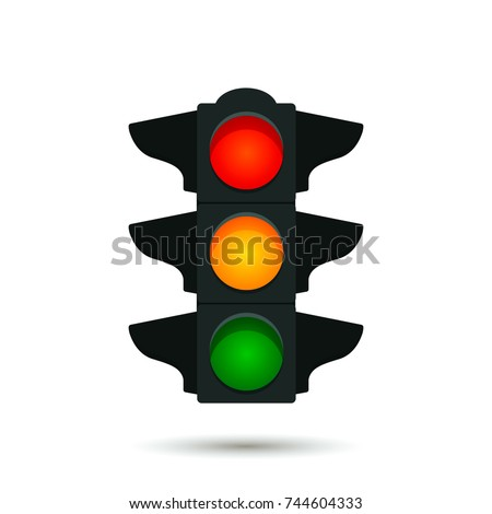 A traditional street traffic light. icon with shadow