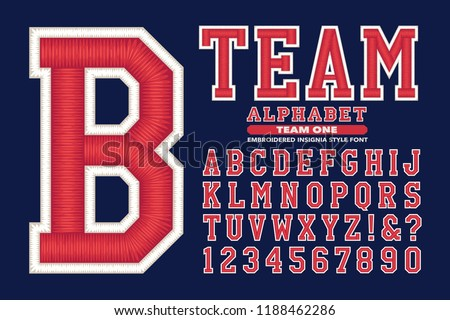 A traditional style of sports or university lettering with 3d embroidery effects
