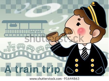 a Train Trip - stock vector