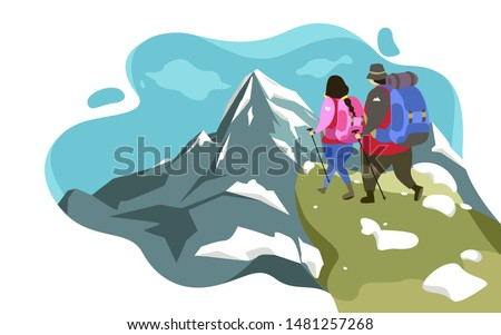 a traveler couple hiking to
